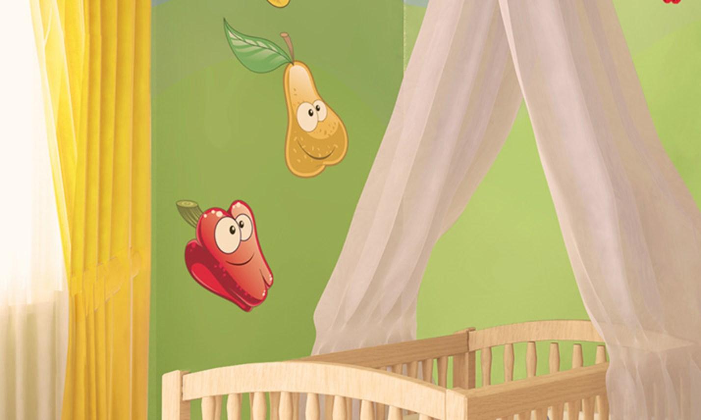 Stickers murali bambini cameretta frutta e verdura leostickers - Adesivi murali per camerette ...